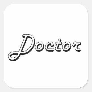 Sistema de trabajo del doctor Classic Pegatina Cuadrada