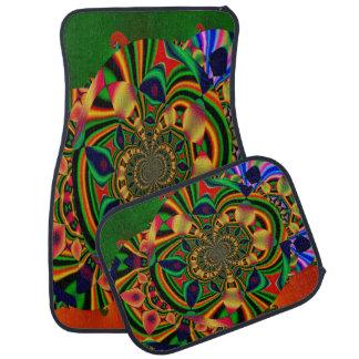Sistema decorativo abstracto multicolor de 4 alfombrilla de coche