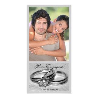 Sistema del anillo de bodas de diamante tarjeta fotografica