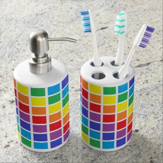 Sistema del baño de los cuadrados del arco iris jabonera