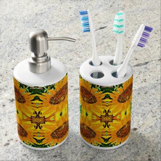 Sistema del cuarto de baño del girasol vasos para cepillos de dientes