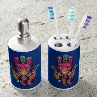 Sistema del dispensador del tenedor y del jabón vasos para cepillos de dientes
