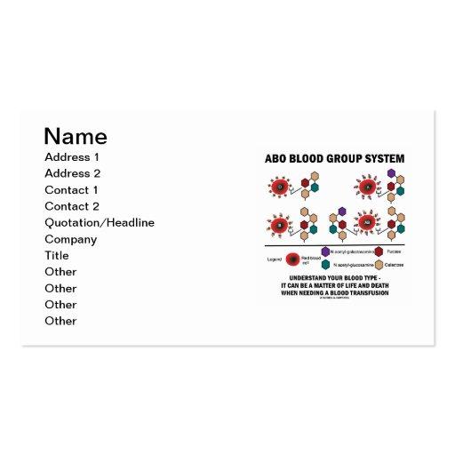 Sistema del grupo sanguíneo de ABO (tipos de sangr Tarjeta De Visita