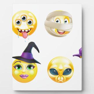Sistema del icono del Emoticon de Halloween Placa Expositora