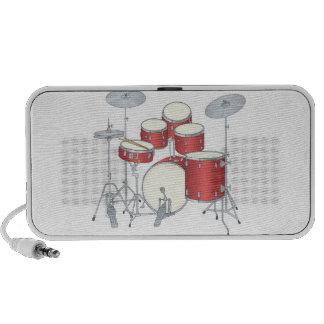 sistema del tambor rojo laptop altavoz