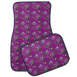Sistema floral púrpura de 4 alfombrillas de auto