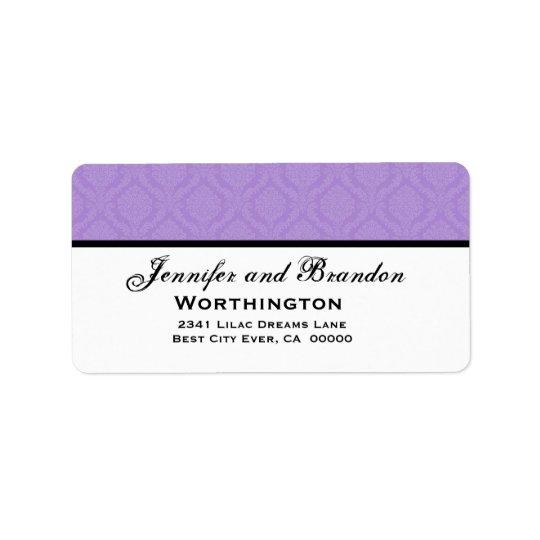 Sistema púrpura del boda del damasco etiqueta de dirección