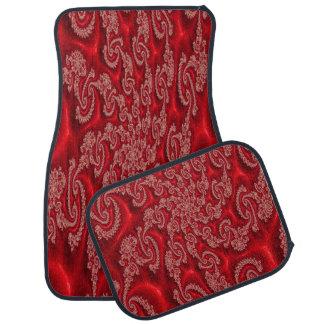 Sistema rojo elegante del diseño del cordón de 4 alfombrilla de coche