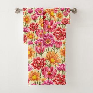 Sistema rosado y amarillo de la toalla del cuarto