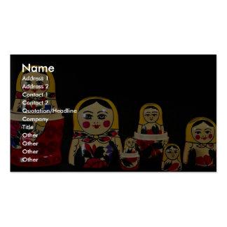Sistema ruso de la muñeca, pintura de madera rusa  tarjeta de visita