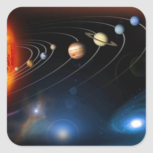 """""""Sistema Solar """" Calcomanía Cuadradas Personalizada"""