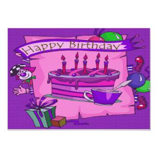 Sistema tonto del payaso del feliz cumpleaños invitación 12,7 x 17,8 cm