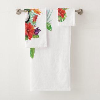 Sistema tropical de la toalla del cuarto de baño