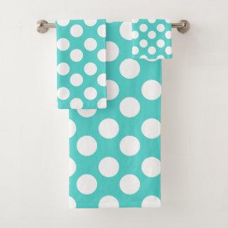 Sistema verde azulado y blanco de la toalla de
