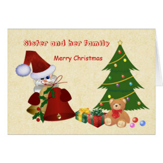 Sister.Christmas.Santa, árbol, oso de peluche, Tarjeta De Felicitación