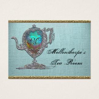 Sitio elegante del té de la tetera del Victorian Tarjeta De Negocios