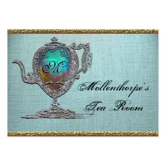 Sitio elegante del té de la tetera del Victorian Plantillas De Tarjetas De Visita