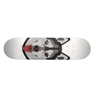Skateboard El ilustracion persigue el husky siberiano de la