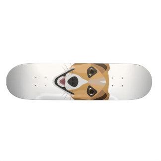 Skateboard Perro Terrier sonriente del ilustracion