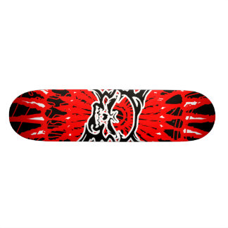 skateboard skull/black red white tabla de skate