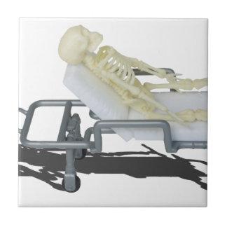SkeletonOnGurney092715 Azulejo Cuadrado Pequeño