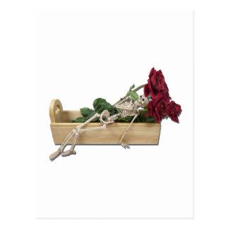 SkeletonWoodenBoxRoses122111 Tarjetas Postales