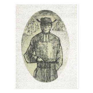 Sktch del lápiz del vintage, sacerdote francés del postal