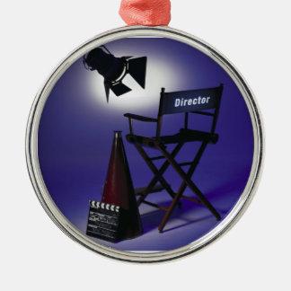 Slate del director, silla y luz 2 de la etapa ornamento para arbol de navidad
