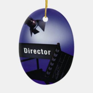 Slate del director silla y luz de la etapa adornos de navidad