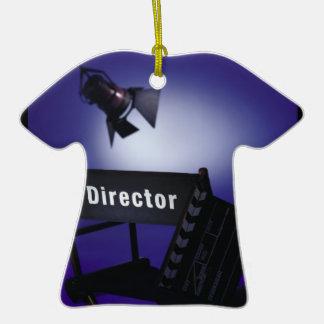 Slate del director, silla y luz de la etapa adorno de cerámica en forma de camiseta