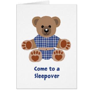 Sleepover azul borroso de los pijamas de la tela tarjeta de felicitación