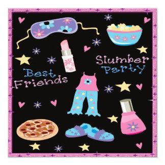 Sleepover de la fiesta de pijamas de los mejores invitación 13,3 cm x 13,3cm