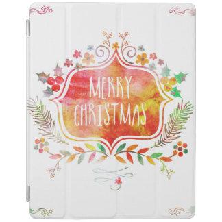 Smart Cover Para iPad Felices Navidad retras de la acuarela