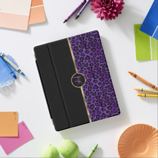Smart Cover Para iPad Piel púrpura elegante del leopardo