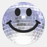 Smiley de la bola de discoteca pegatinas redondas