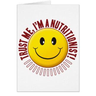 Smiley de la confianza del nutricionista tarjeta de felicitación