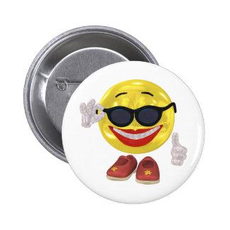 Smiley de la mujer del día de fiesta chapa redonda de 5 cm