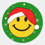Smiley de Santa Etiquetas Redondas