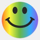 Smiley del arco iris etiqueta redonda