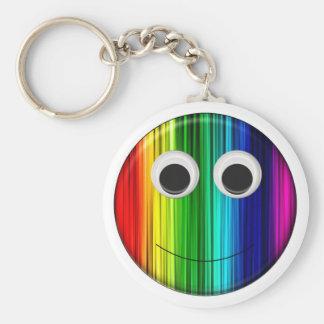 Smiley del arco iris llavero redondo tipo chapa