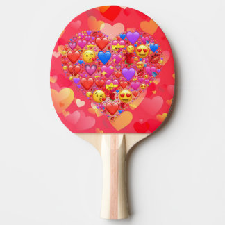 Smiley del corazón pala de ping pong