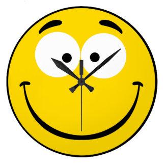 Smiley raro reloj redondo grande