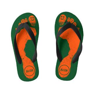 Smiley-Toes™ de las huellas del naranja salvaje en Chanclas Para Niños