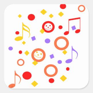 Smiley y notas coloridos de la música pegatina cuadrada