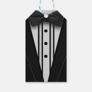 Smoking negro con la pajarita etiquetas para regalos