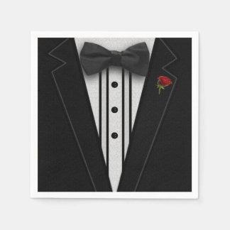 Smoking negro con la pajarita servilletas de papel