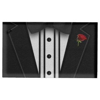 Smoking negro con la pajarita soporte para tarjetas de mesa