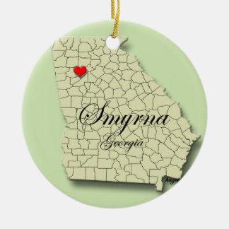 Smyrna, Georgia, ornamentos del navidad del mapa Adorno Navideño Redondo De Cerámica