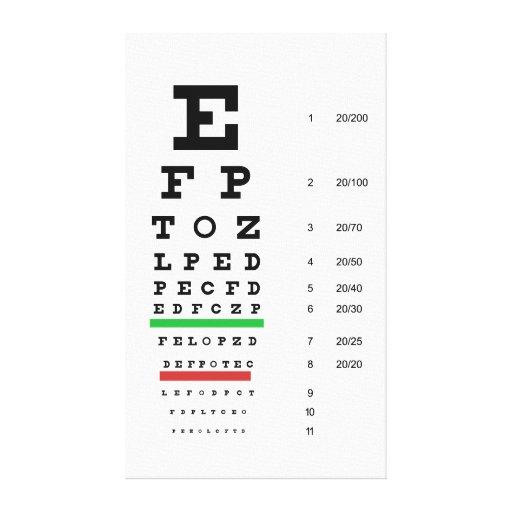 snellen la oftalmología de la carta impresión de lienzo