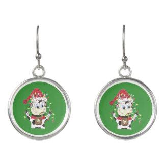 Snowbell la vaca y Navidad enciende los pendientes